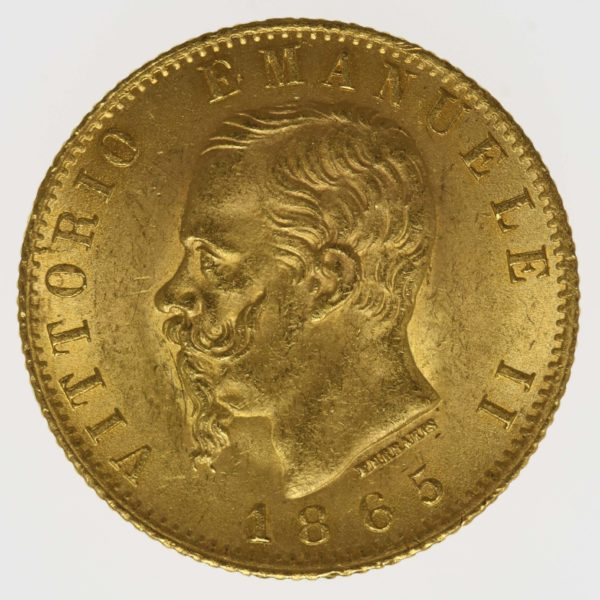 italien - Italien Vittorio Emanuele II. 20 Lire 1865