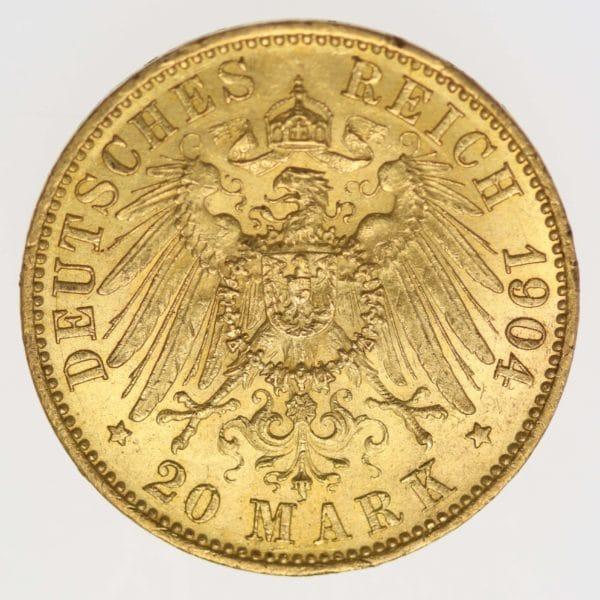 deutsches-kaiserreich-ab-1871 - Preussen Wilhelm II.20 Mark1904