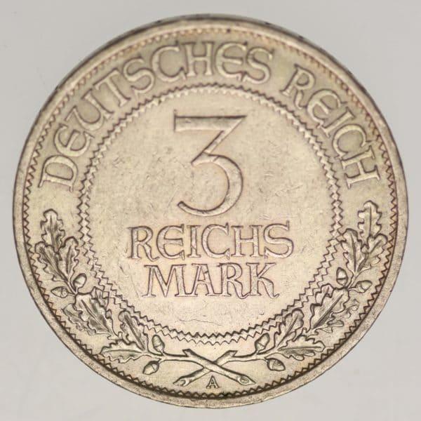 weimarer-republik-deutsche-silbermuenzen - Weimarer Republik 3 Reichsmark 1926 Lübeck