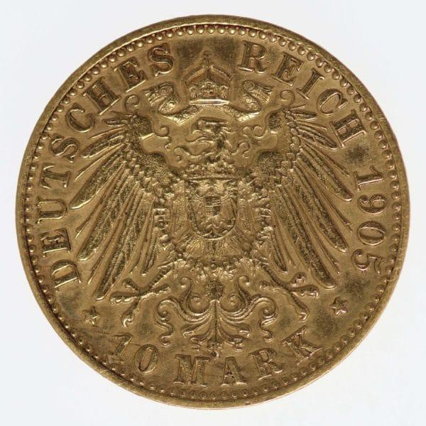 deutsches-kaiserreich-ab-1871 - Württemberg Wilhelm II.10 Mark 1905