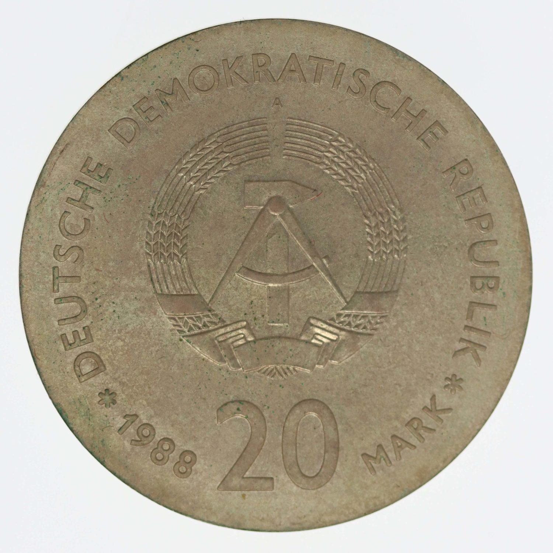 ddr-deutsche-silbermuenzen - DDR 20 Mark 1988 Zeiss