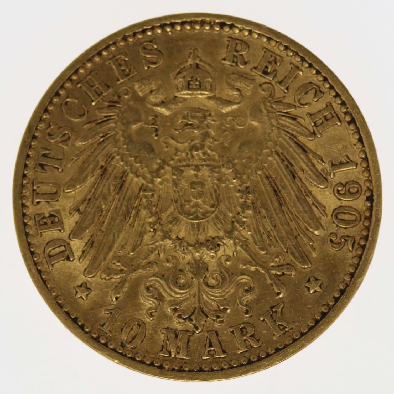 deutsches-kaiserreich-ab-1871 - Baden Friedrich I. 10 Mark 1905
