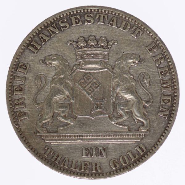 altdeutschland-deutsche-silbermuenzen - Bremen Gedenktaler 1865