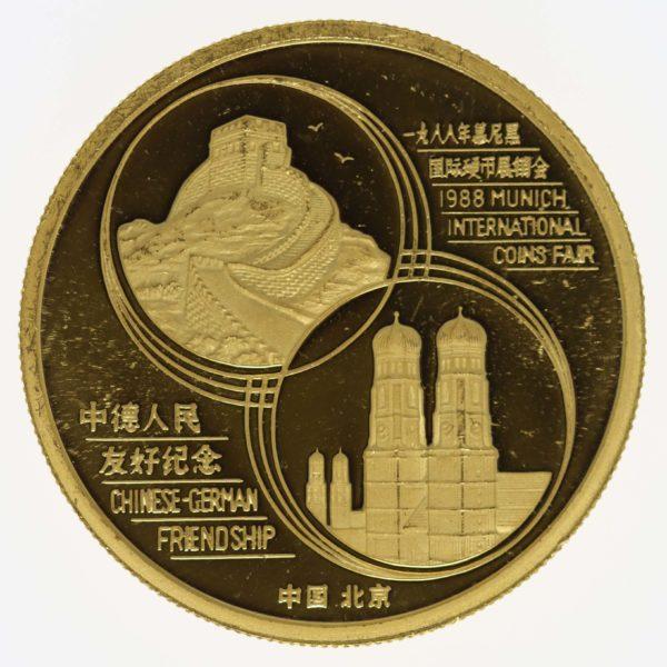 china - China Panda 1 Unze 1988 Coin Show Munich