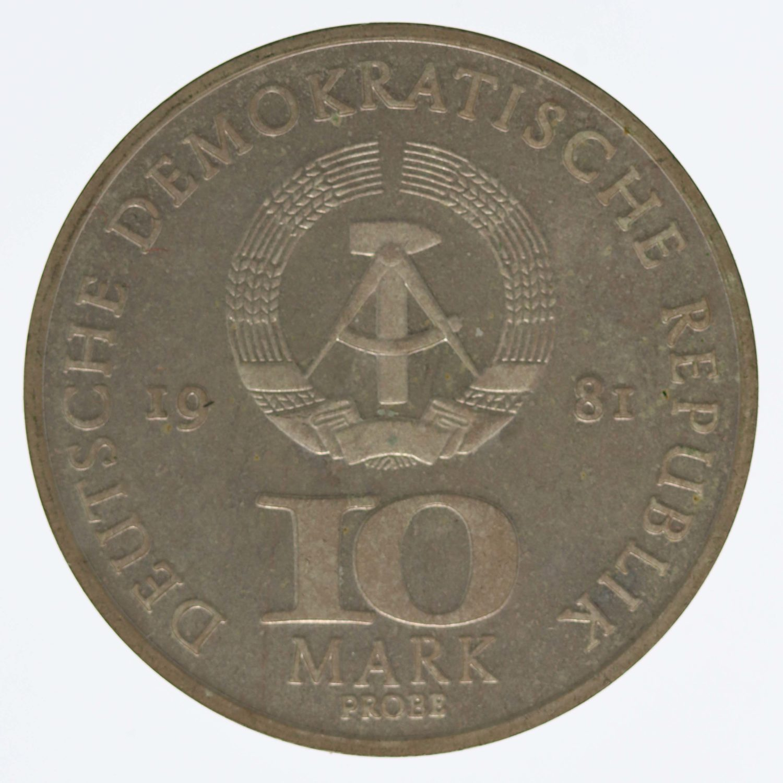 ddr-deutsche-silbermuenzen - DDR 10 Mark 1981 Probe
