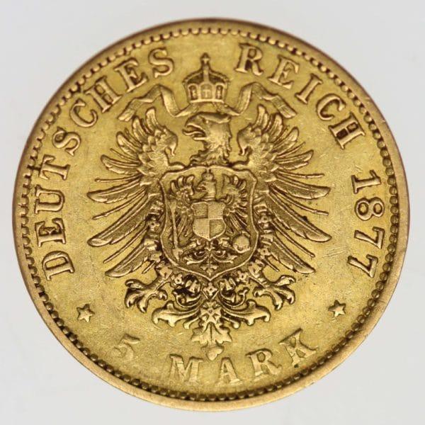 deutsches-kaiserreich-ab-1871 - Hamburg Stadtwappen 5 Mark 1877