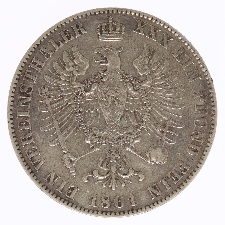 altdeutschland-deutsche-silbermuenzen - Preussen Friedrich Wilhelm IV. Vereinstaler 1861