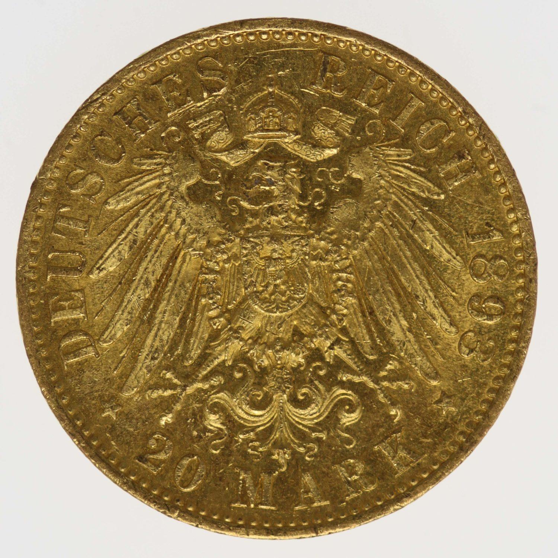 deutsches-kaiserreich-ab-1871 - Preussen Wilhelm II.20 Mark1893 A