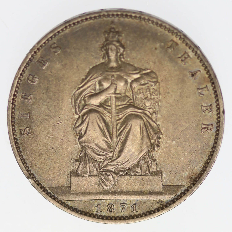 altdeutschland-deutsche-silbermuenzen - Preussen Wilhelm I. Vereinstaler 1871