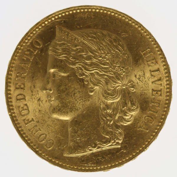 schweiz - Schweiz 20 Franken 1890 Helvetia