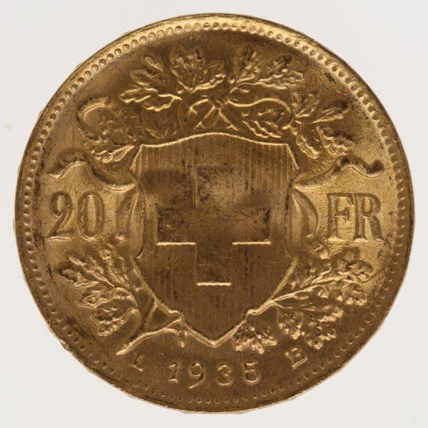 schweiz - Schweiz 20 Franken 1935 LB Vreneli