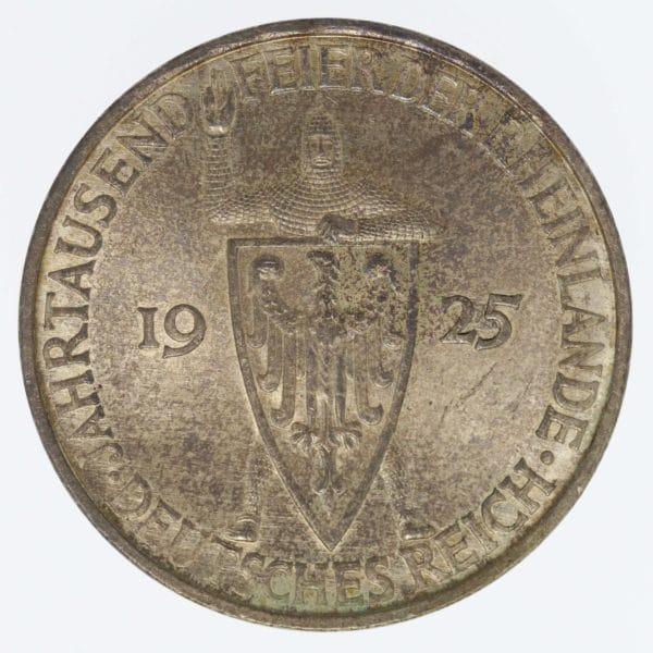 weimarer-republik-deutsche-silbermuenzen - Weimarer Republik 5 Reichsmark 1925 F Rheinlande