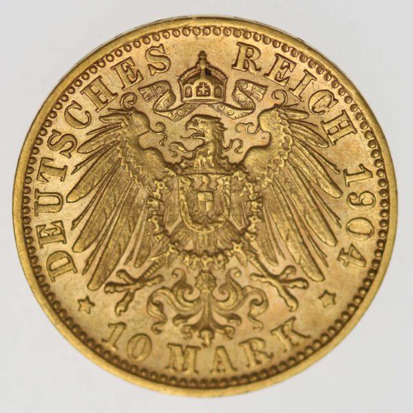 deutsches-kaiserreich-ab-1871 - Württemberg Wilhelm II.10 Mark 1904