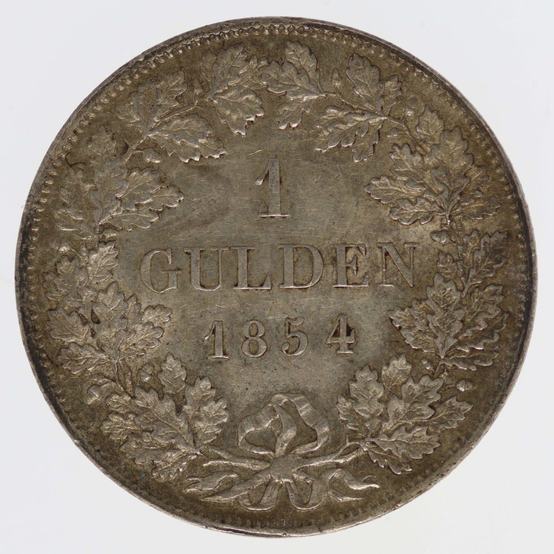altdeutschland-deutsche-silbermuenzen - Württemberg Wilhelm I. Gulden 1854