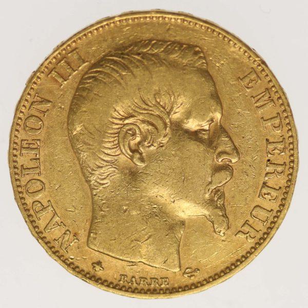 frankreich - Frankreich Napoleon III. 20 Francs 1855 BB