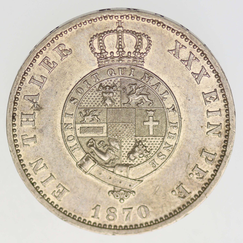 altdeutschland-deutsche-silbermuenzen - Mecklenburg Strelitz Friedrich Wilhelm Taler 1870 A