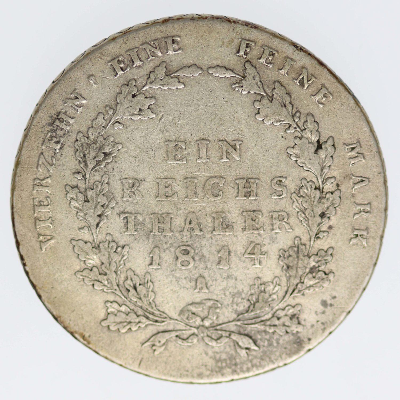 altdeutschland-deutsche-silbermuenzen - Preussen Friedrich Wilhelm III. Taler 1814 A