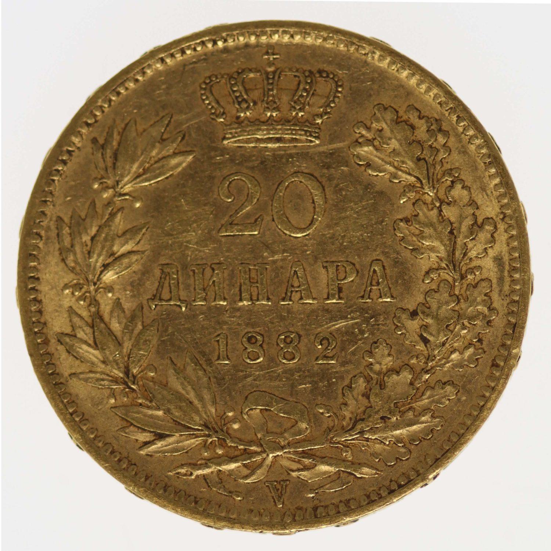 serbien - Serbien Milan I. 20 Dinara 1882