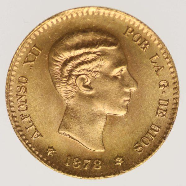 spanien - Spanien Alfonso XII. 10 Pesetas 1878 / 19-62 NP