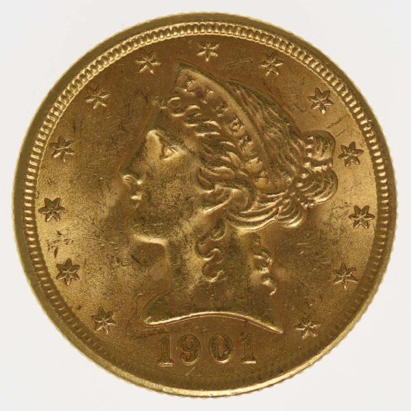 usa - USA 5 Dollars 1901 Liberty / Kopf